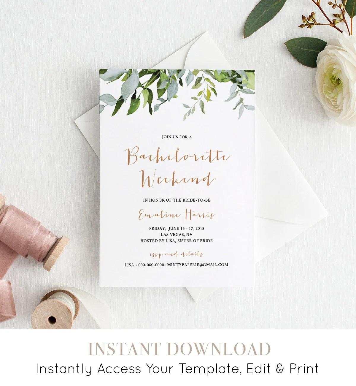 bachelorette party weekend invitation
