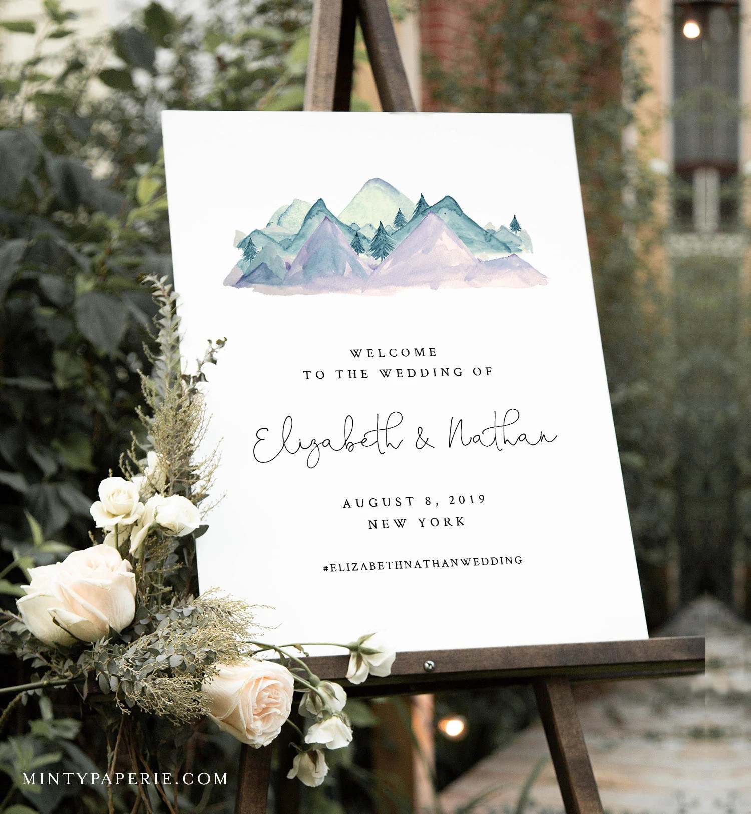 mountain welcome sign template wedding