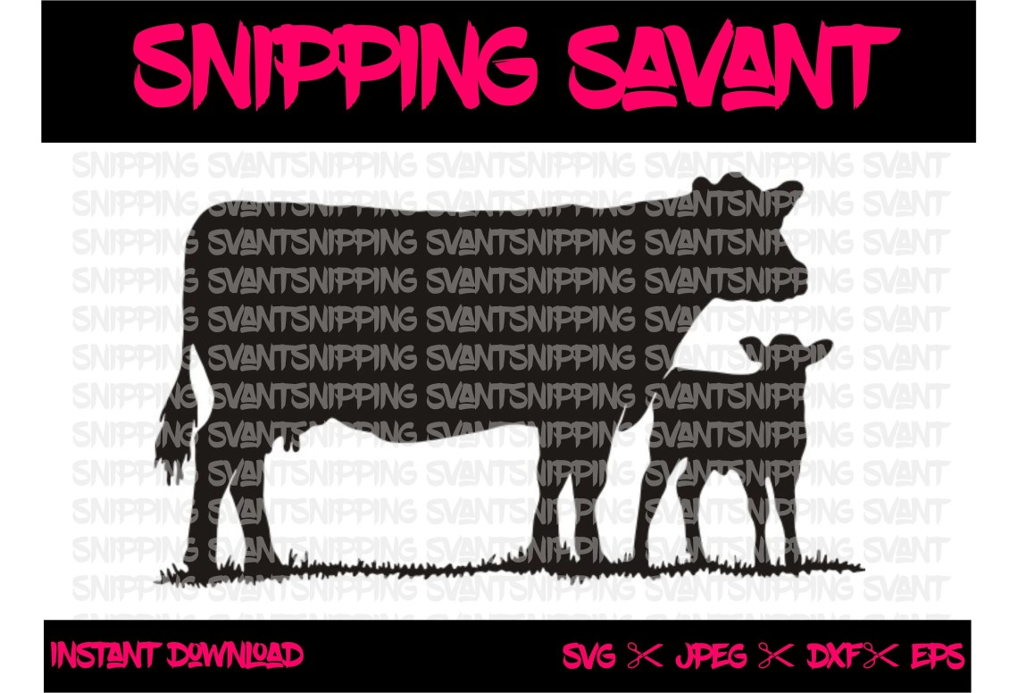 Download Cow & Calf DXF EPS SVG Cut Files Design File Cut File | Etsy