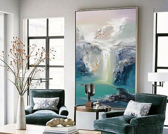 large pictures for living room wall fireplace designs extra art etsy abstract oil painting contemporary hand paint landscape blue canvas