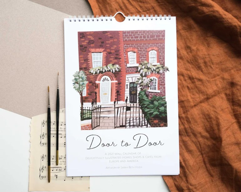 2021 Wall Calendar Door to Door // Original Illustrated Wall image 0