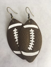 Football Earrings Faux Leather Earrings Football Game