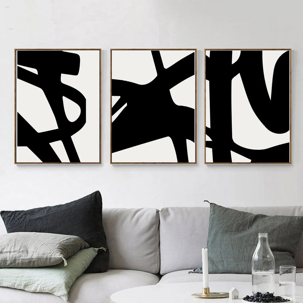 artwork for living room walls drapes pictures wall art etsy set of 3 prints black and white abstract print downloadable modern poster line minimal stroke