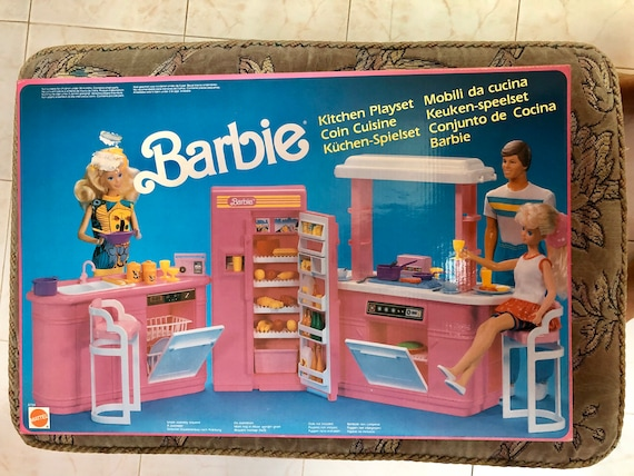 barbie kitchen playset planning a island mattel 1990 vintage new and etsy image 0