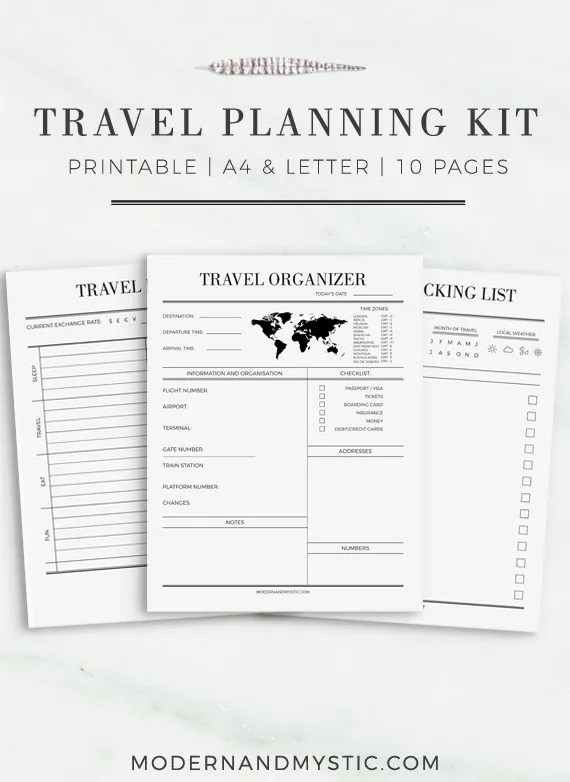 Travel Journal A4 & Letter Size Travel Planner Travel