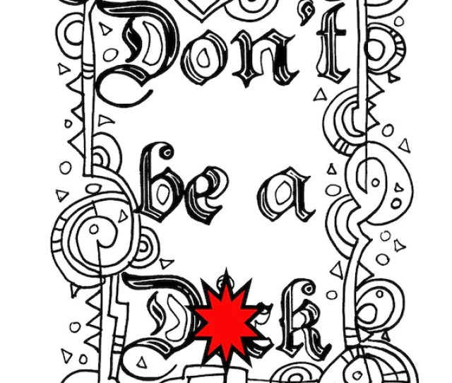 Swear Word Coloring Sheet Page Printable Dont Dck Etsy