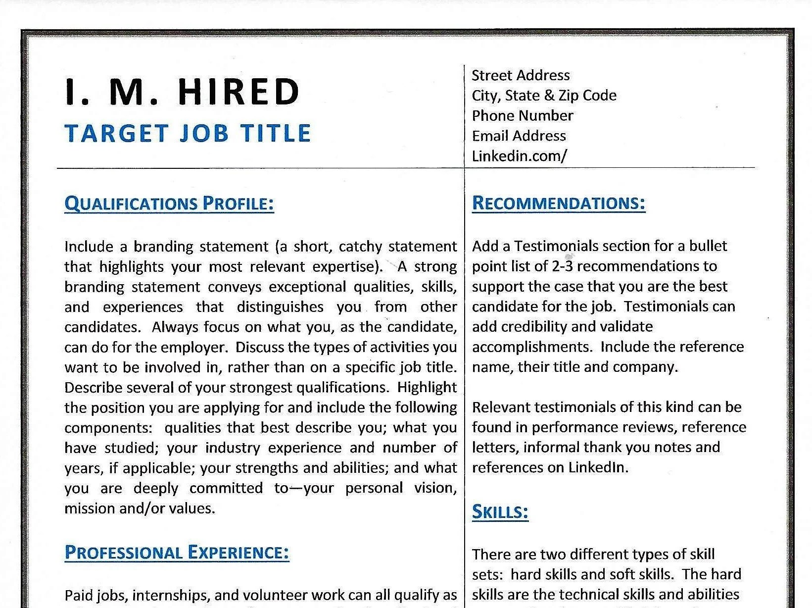 When Is A Chronological Resume Not Advantageous Combination Resume Template Etsy