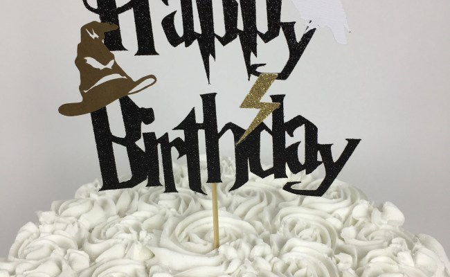 Harry Potter Happy Birthday Cake Topper Lightning Bolt Etsy