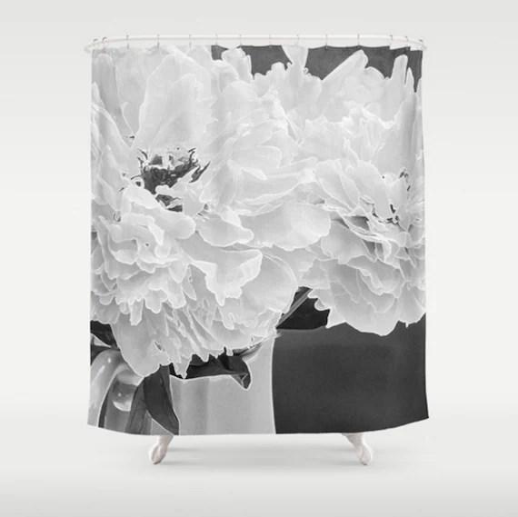 black and white shower curtain peony shower curtain floral bathroom decor gray bath set floral shower curtain white flower bath mat