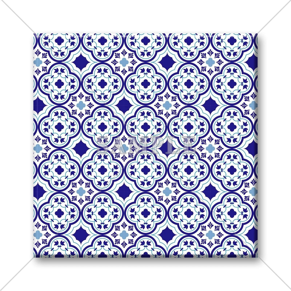unique decorative ceramic tile moroccan design blue white etsy