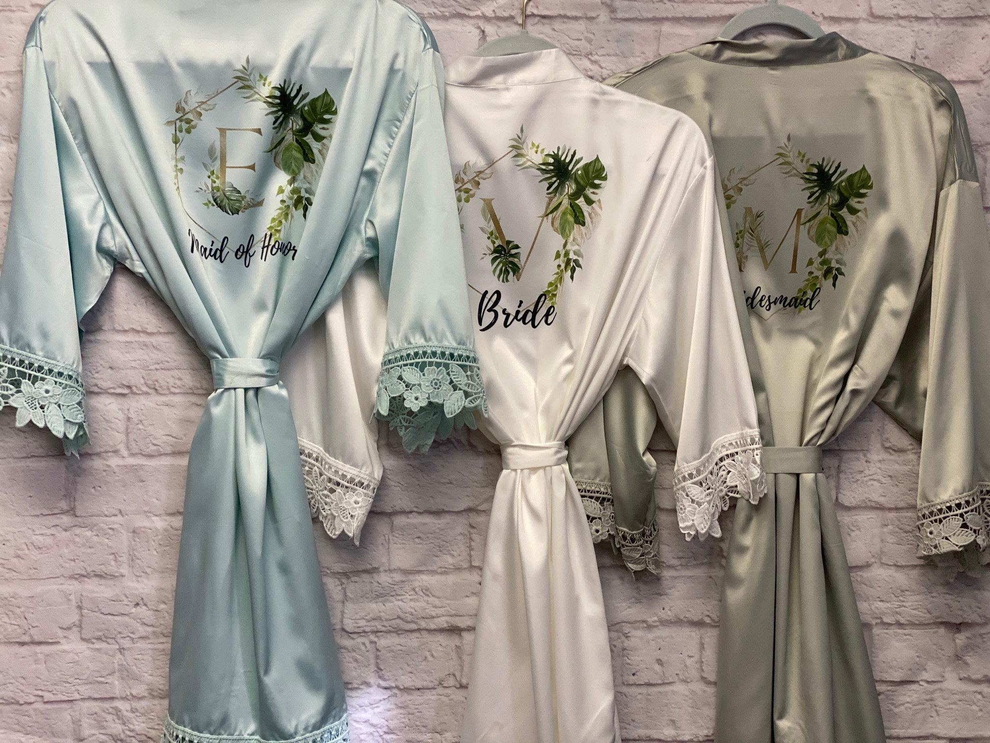Tropical Wedding Bridal Robes  Bridesmaid Gifts Greenery image 4