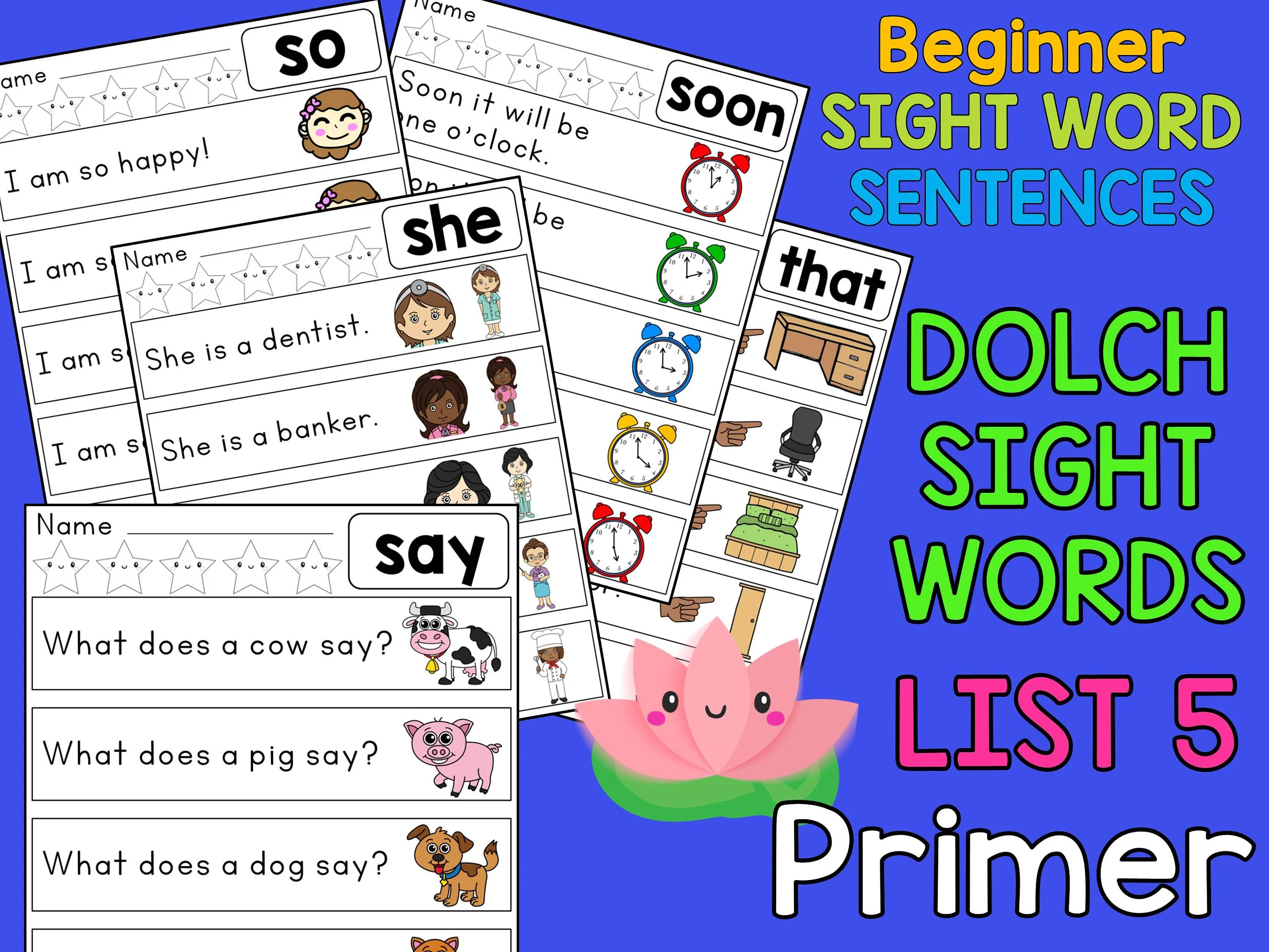 Sight Word Sentences Worksheets And Posters Dolch Primer