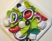 greek salad toy, felt kitchen toy for toddlers, felt food, play food, felt vegetables, vegetables for children, mix greens, onion rings