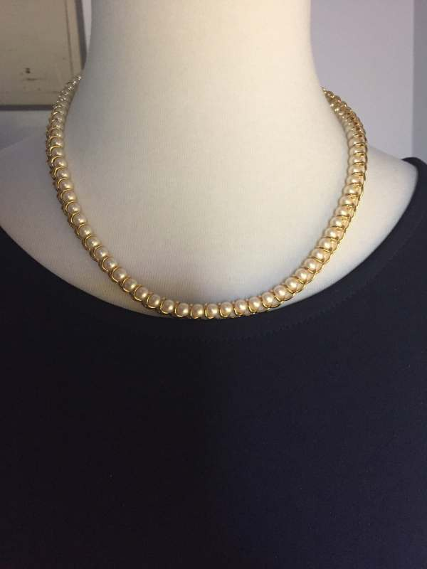 Monet Gold Tone Pearl Necklace