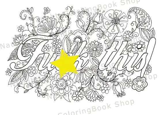 Items similar to Printable Coloring Page, Sweary Coloring