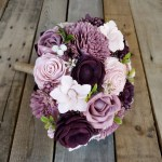 Ready To Ship Dark Plum Mauve Light Pink And Cream Wood Flower Bouquet Bridal Bouquet Bridesmaid Bouquet