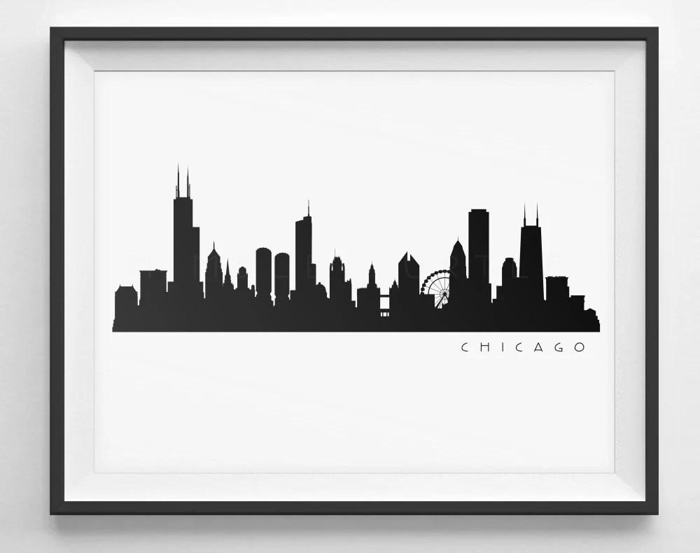 chicago skyline silhouette printable