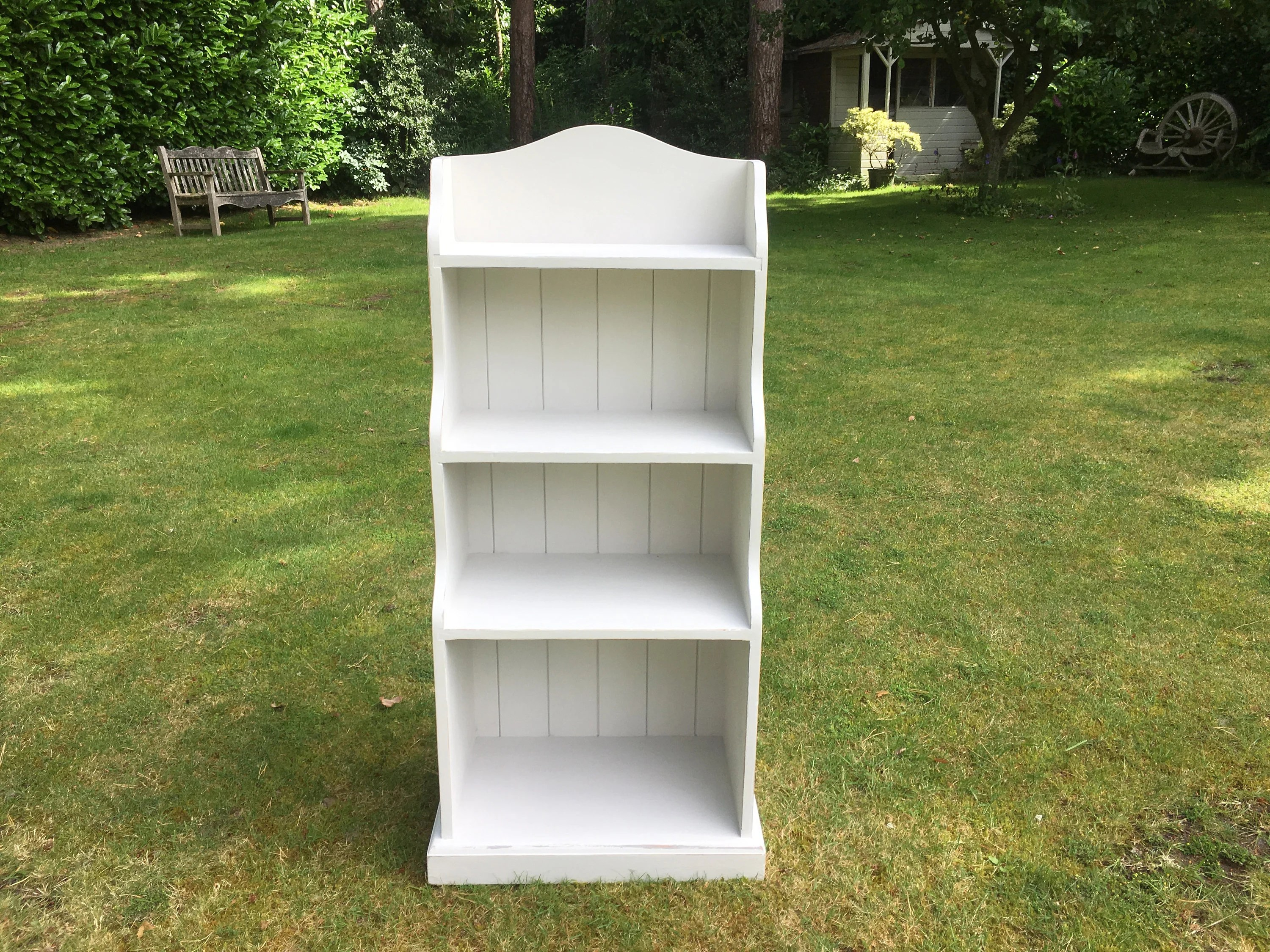 Hand Painted Waterfall Solid Pine Bookcase In Grey White