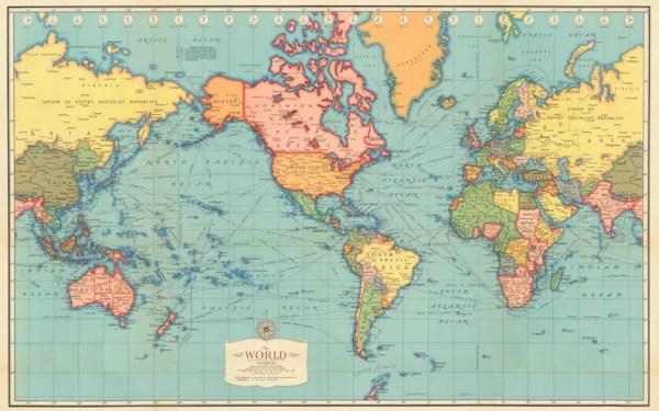Antique World map digital print World map printable