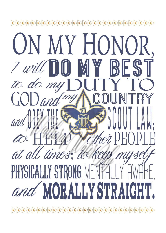 Boy Scout Oath Law Motto Slogan Digital Prints