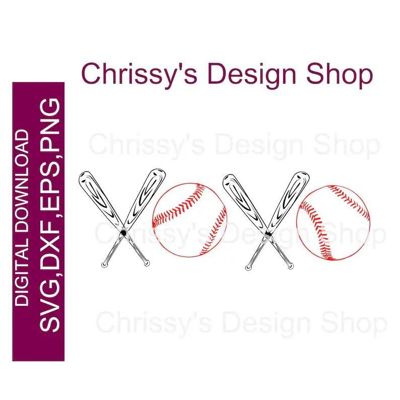 Download XOXO baseball and bat SVG Love baseball for cricut and | Etsy