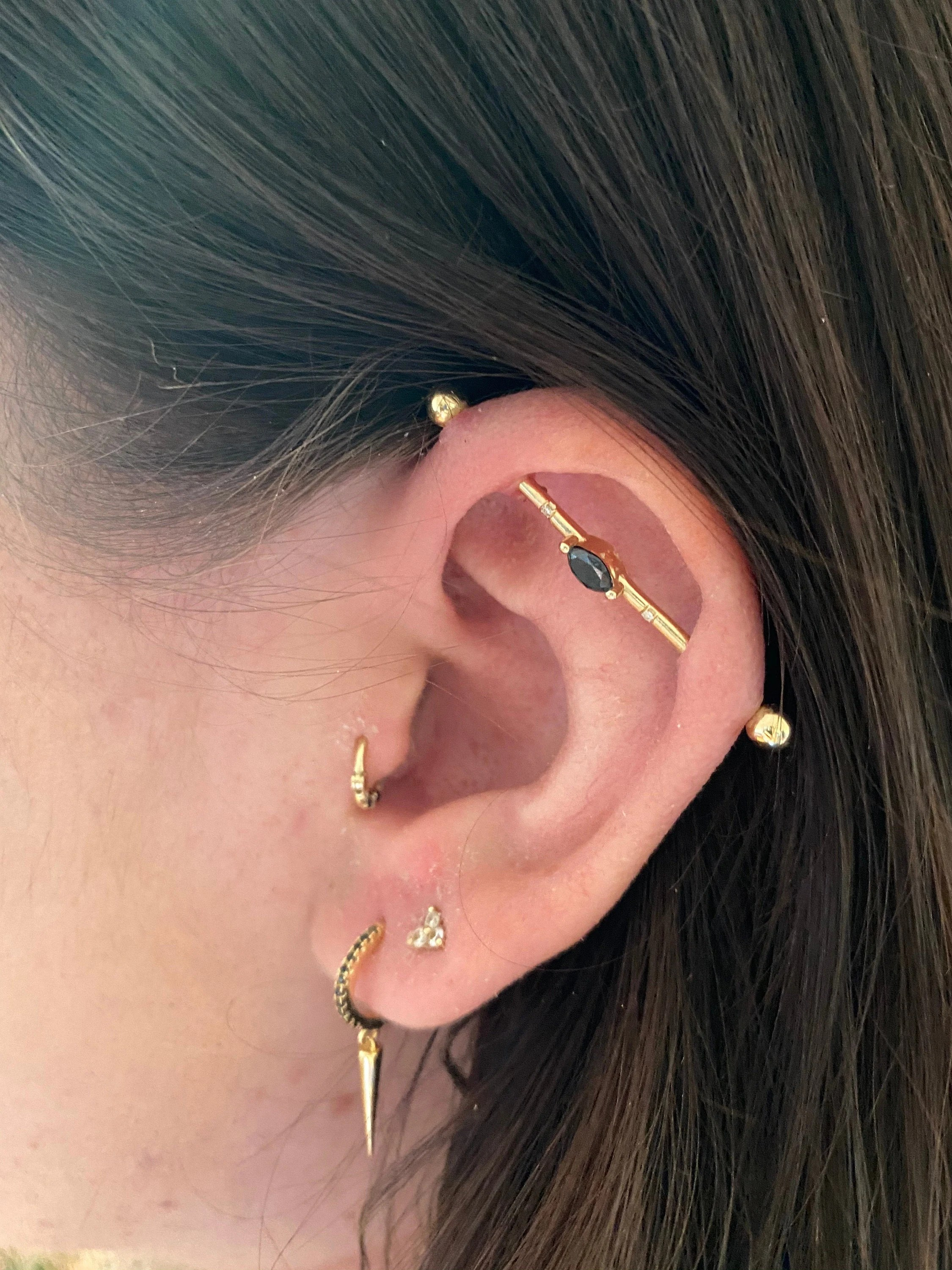 Industrial Piercing Jewelry Gold : industrial, piercing, jewelry, Industrial, Piercing, Jewelry, Yellow, Marquise, Black