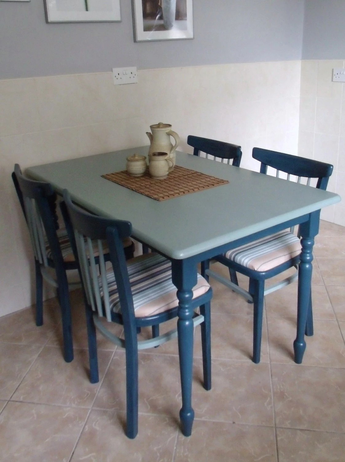 Country Kitchen Chairs Farmhouse Country Kitchen Dining Table And 4 Chairs Upcycled In Aubusson And Duck Egg Blue