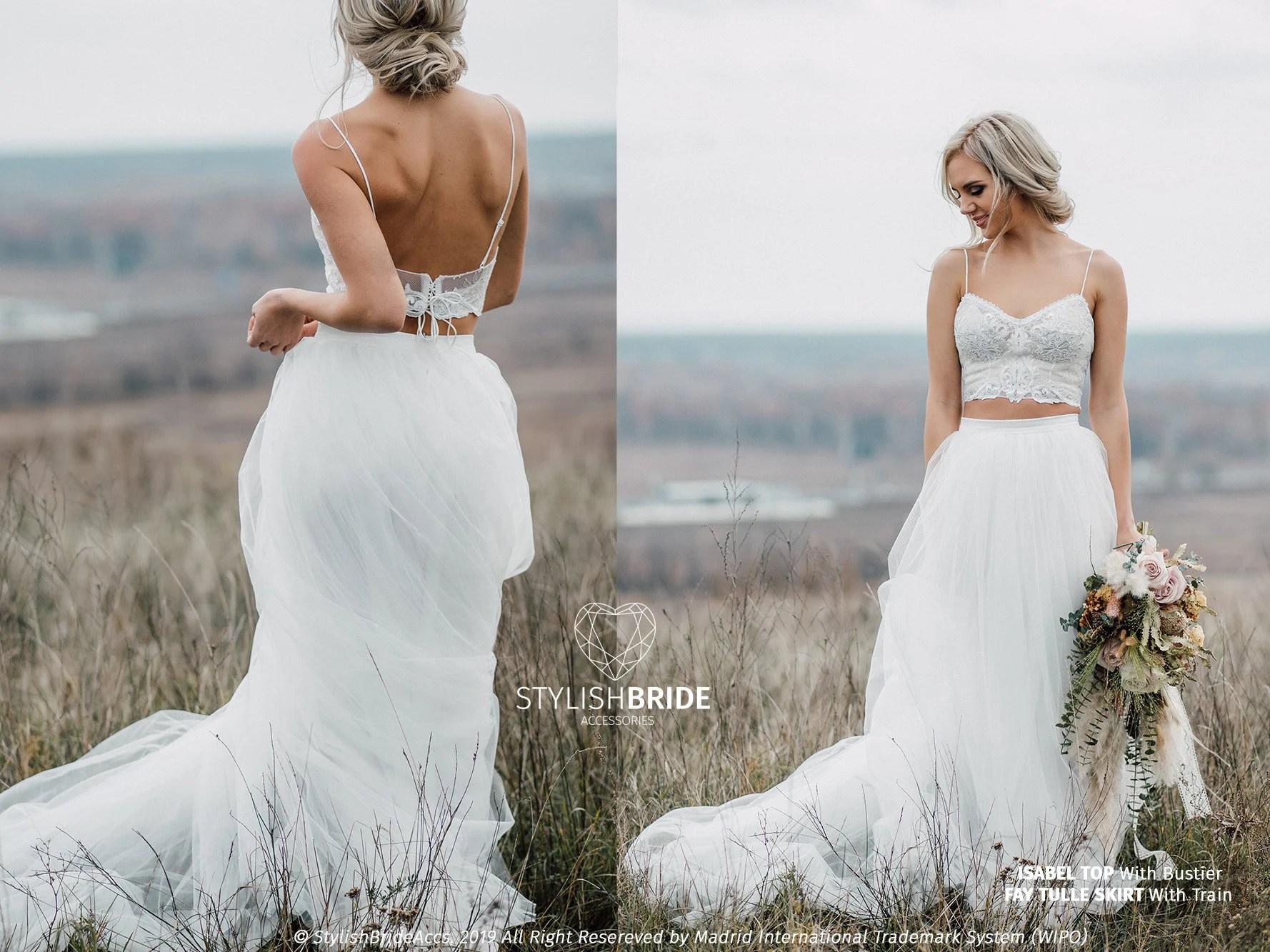 Isabel Boho Wedding Dress With Spaghetti Straps 3 Pieces
