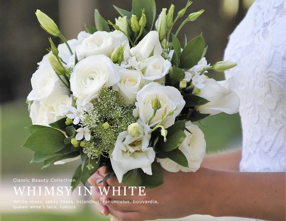 Simple White Wedding Flowers Bouquet Whimsical Wedding