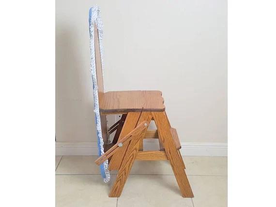 chair step stool ironing board ergonomic office johannesburg white clad bachelor convertible oak ladder etsy image 0