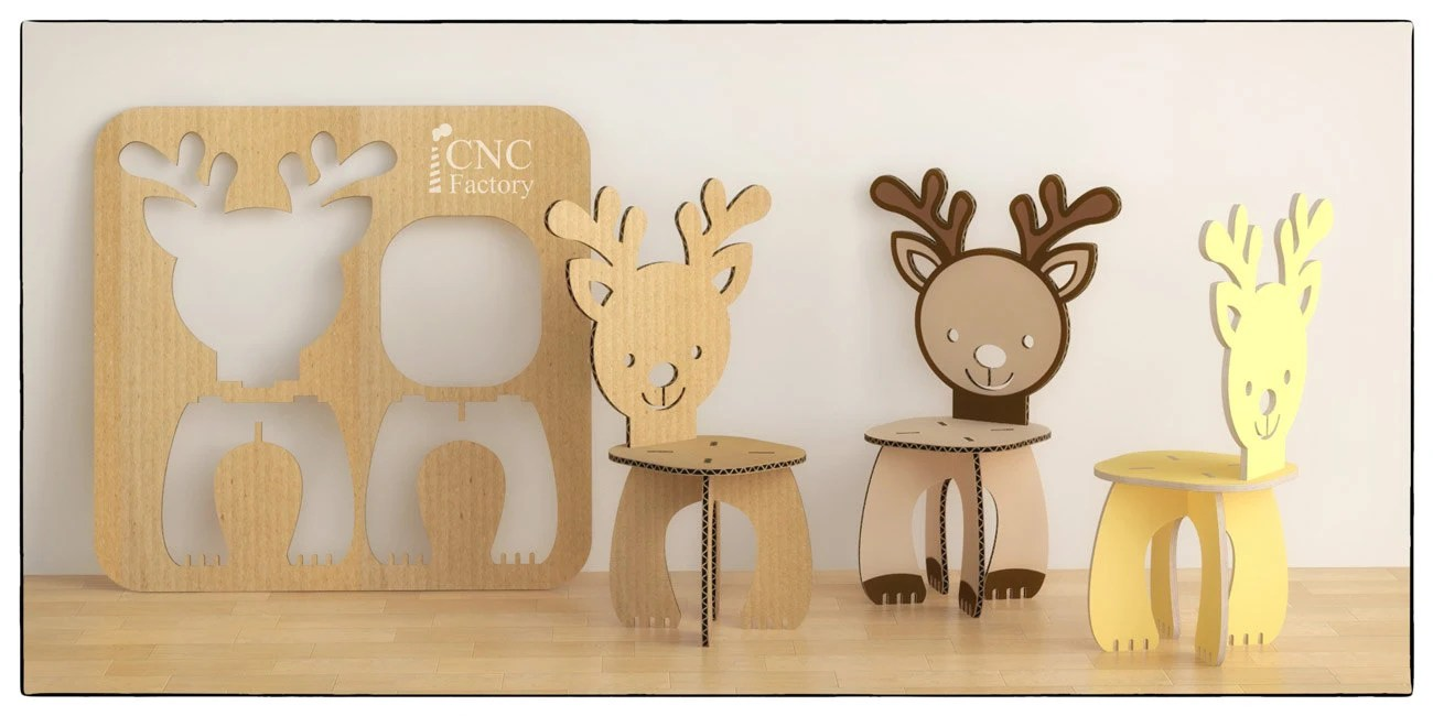 wooden step stool chair family inada massage deer cnc template cutting file cardboard | etsy