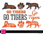tigers svg cut file pack with 9