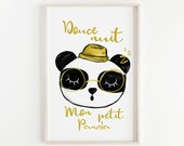 Printable panda soft decorative night poster for baby or child's room