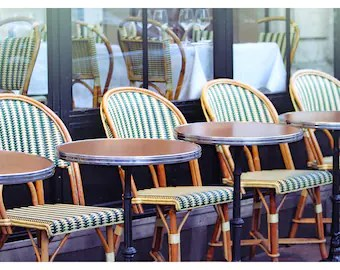 parisian cafe chairs navy accent chair paris etsy bistro striped green white photography kitchen decor french home travel