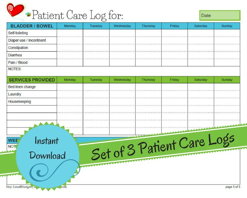 Weekly In Home Patient Care Log Elderly Home Care Patient ...