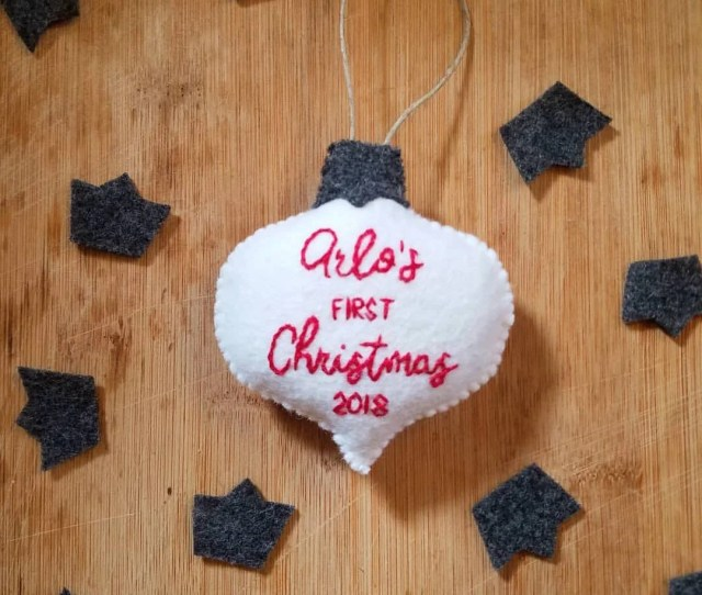 Felt Babys First Christmas Ornament Babys First Christmas First Christmas Ornament Felt Ornaments Custom Baby Christmas Ornament