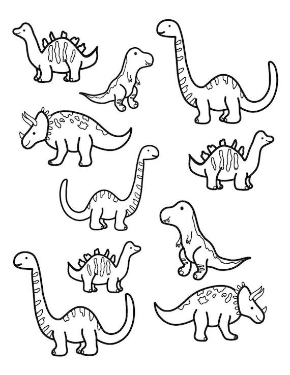Dinosaur Coloring Page Etsy