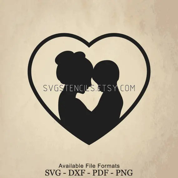Download SVG Mom and Son With Love Stencil Silhouette Studio | Etsy