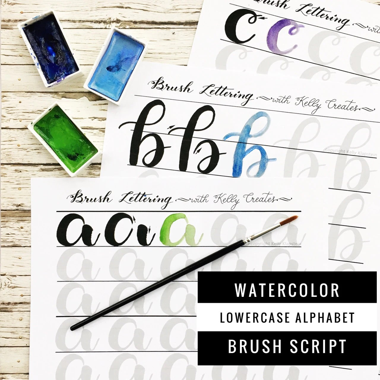 Watercolor Brush Lettering Alphabet Amp Drills Worksheets