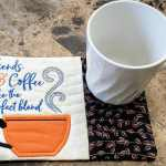 Embroidered Coffee Mug Rug Made From Kimberbell Holiday Seasonal Mug Rugs Vol 1 Snack Mat Coaster Candle Mat Pot Holder Hostess Gift