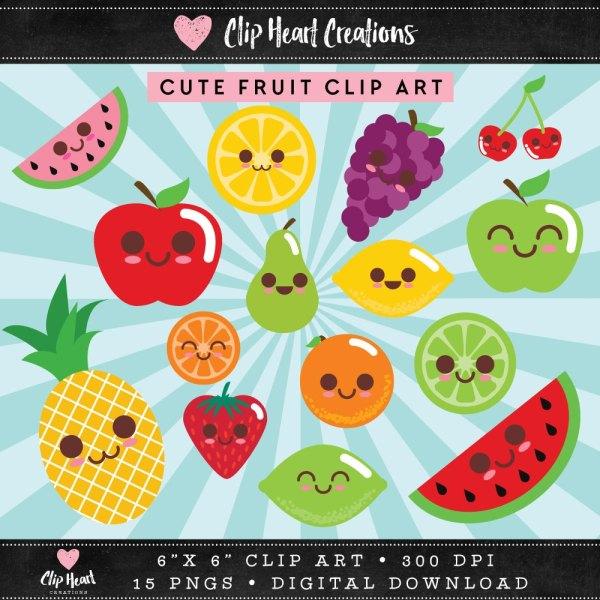 Kawaii Fruit Clip Art