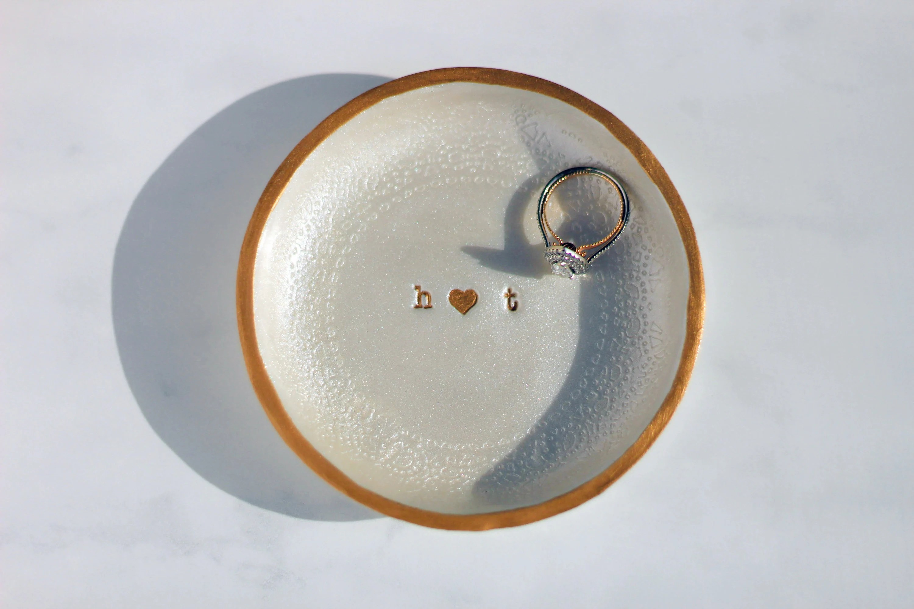 Personalized Metallic Monogram Ring Dish Wedding Ring Dish image 6