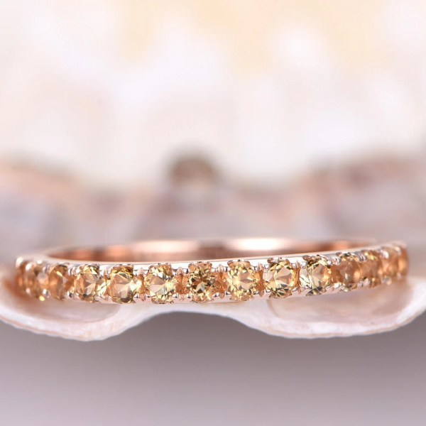 Citrine Ring Gold Wedding Band Eternity 2mm