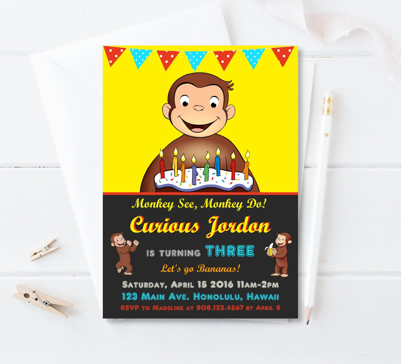 curious george birthday invitation curious george party invites custom printable birthday invitation