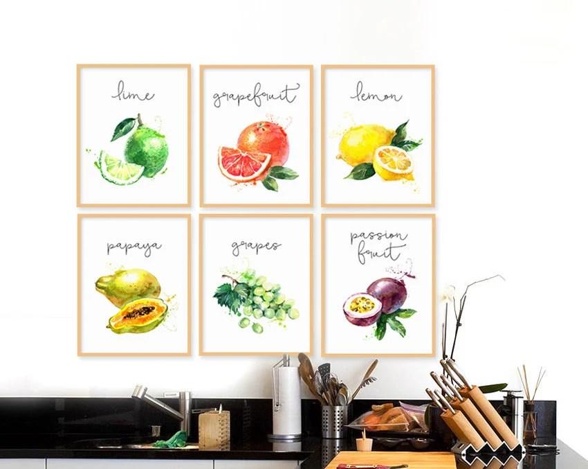 fruit decor for kitchen remove grease buildup from cabinets etsy fruits collection set of 6 watercolor illustration sets art natural