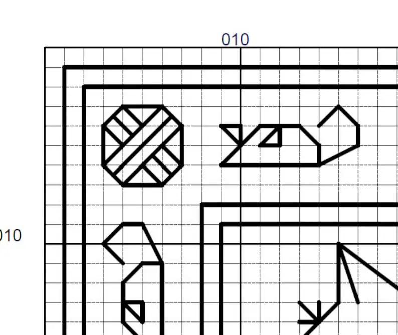 Kaliedo-cats Blackwork Pattern Small Geometric Symmetrical