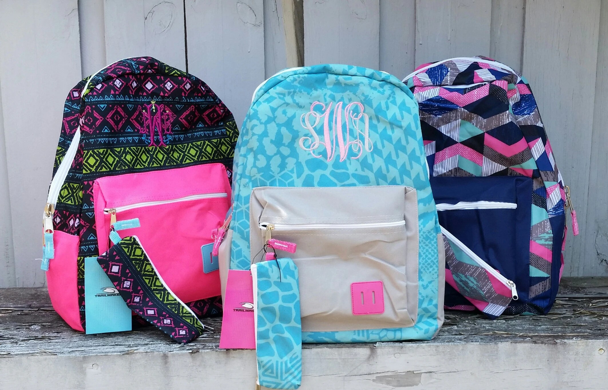 monogrammed backpack with pencil