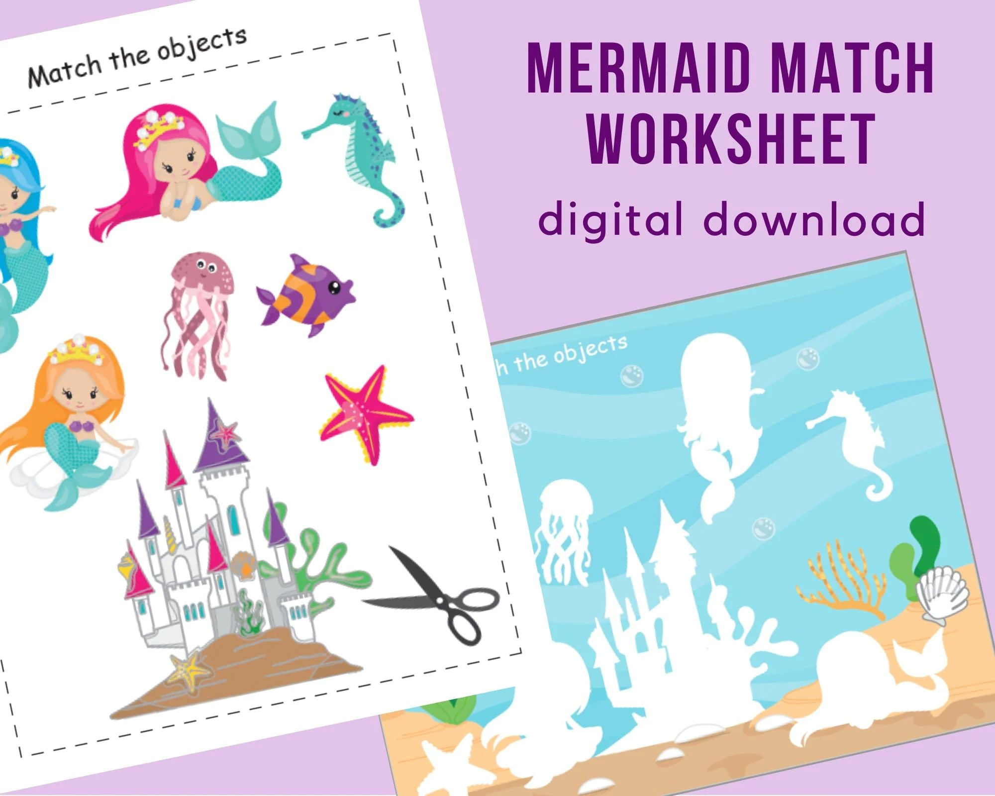 Mermaid Match Worksheet Printable Busy Book For Toddler
