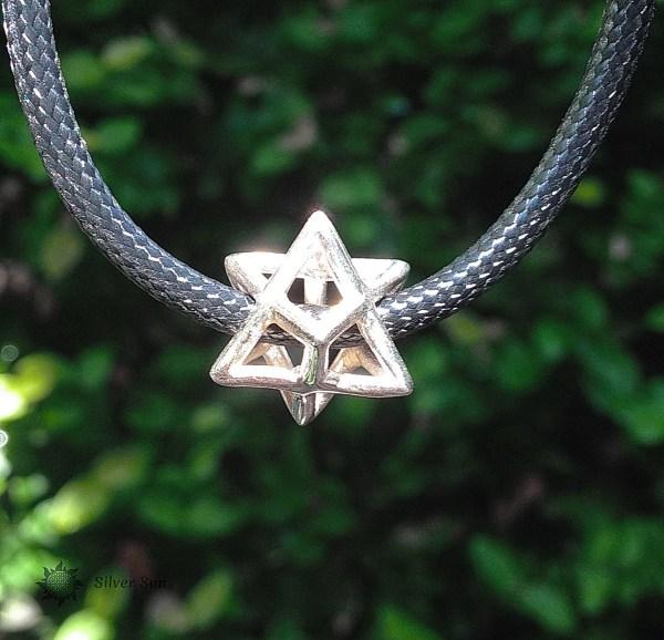 Sterling Silver Star Merkaba Sacred Geometry Black Nylon Cord