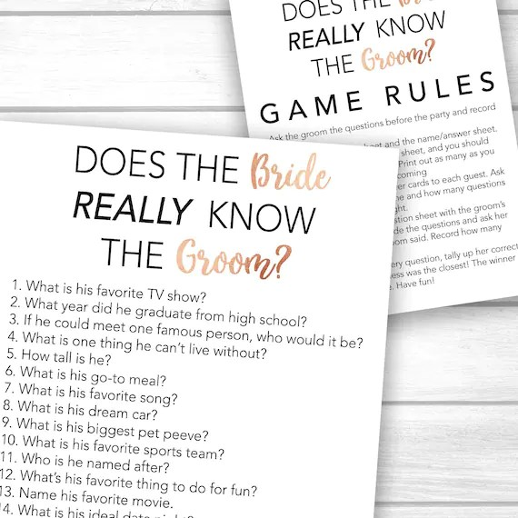 Bridal Shower Game Printable Bachelorette Party Game